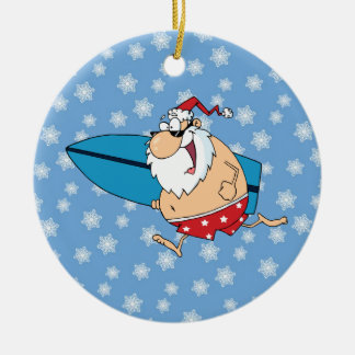 santa surfing christmas ornament