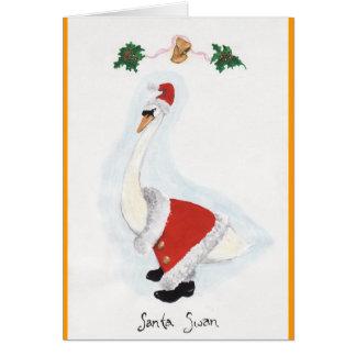 Santa Swan Greeting Cards
