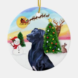Santa Takes Off - Blue Great Dane (natural ears) Christmas Ornament