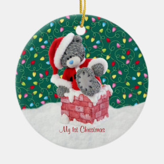 Santa Teddy Bear 1st Christmas Ornament