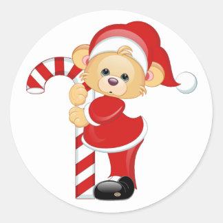 Santa Teddy Bear and Candycane Classic Round Sticker