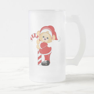 Santa Teddy Bear and Candycane Frosted Glass Beer Mug