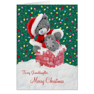 Santa Teddy Bear Granddaughter Christmas Card
