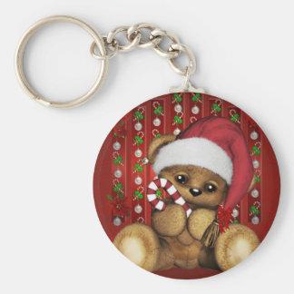 Santa Teddy Bear with Candy Cane Key Chain