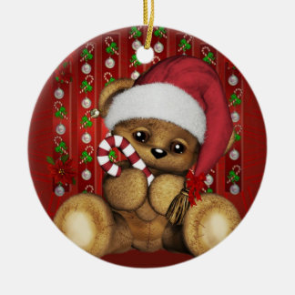 Santa Teddy Bear with Candy Cane Round Ceramic Decoration
