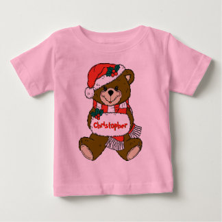 Santa Teddy Bear with Hat and Muff Baby T-Shirt
