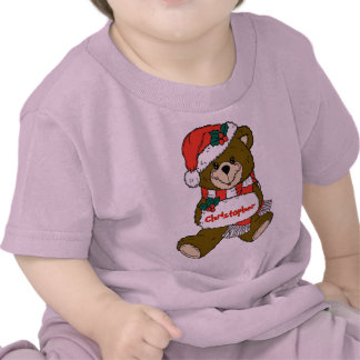 Santa Teddy Bear with Hat and Muff T Shirt