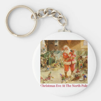Santa & The Elves in The North Pole Stables Basic Round Button Key Ring