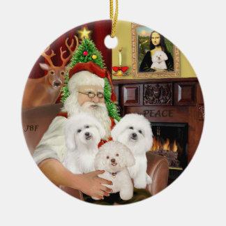 Santa - Three Bichon Frise Christmas Ornament