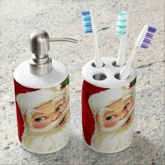 Santa Toothbrush Holder and Soap Dispenser Set