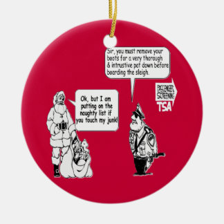 SANTA TOUCH MY JUNK TSA BLACK CHRISTMAS ORNAMENT