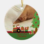 Santa train baby's first christmas photo ornament