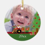 Santa train personalised christmas photo ornament