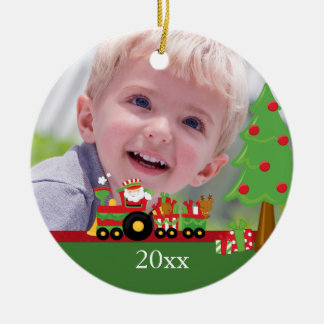 Santa train personalized christmas photo ornament