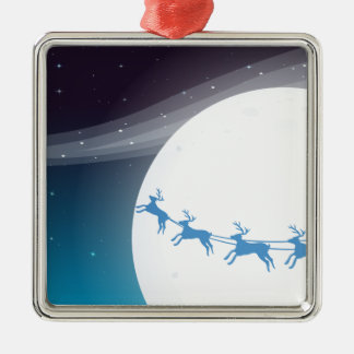 Santa travelling with his reindeers Silver-Colored square decoration