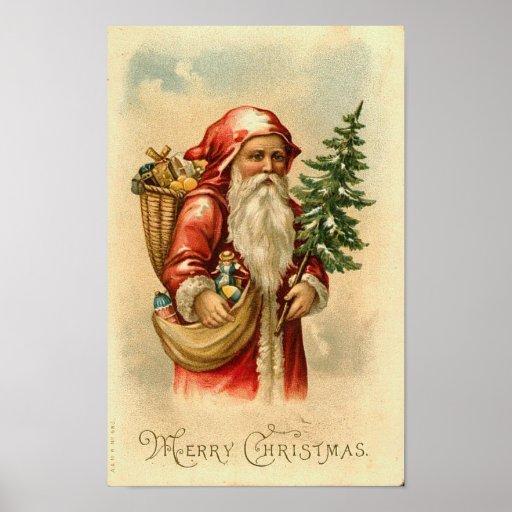 Santa, Tree and Toys Merry Christmas Card Print