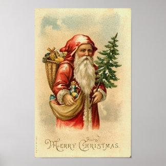 Santa Tree and Toys Merry Christmas Card Print