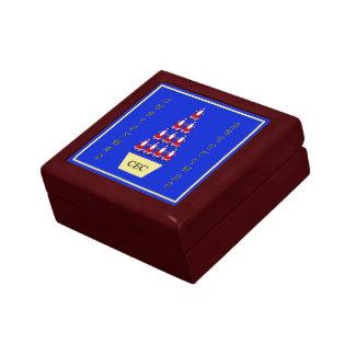 Santa tree Christmas Greetings monogram Small Square Gift Box