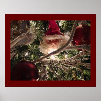 Santa Tree Ornaments, Red Christmas Balls, Lights Poster