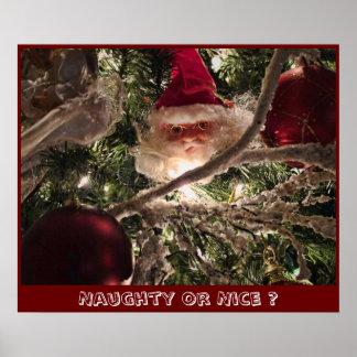 Santa Tree Ornaments Red Christmas Balls Lights Posters