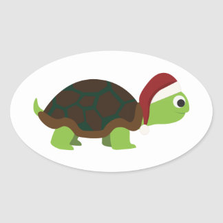 Santa Turtle Oval Sticker