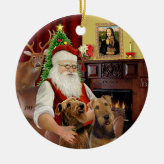 Santa-Two Airedales Christmas Ornament