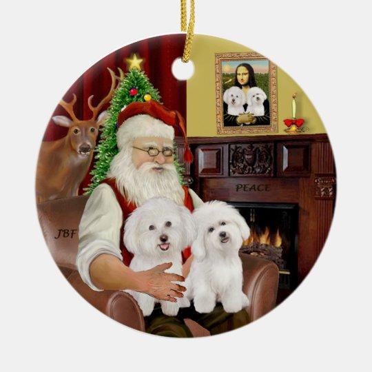 Santa - Two Bichon Frise Christmas Ornament