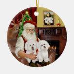 Santa - Two Bichon Frise Round Ceramic Decoration