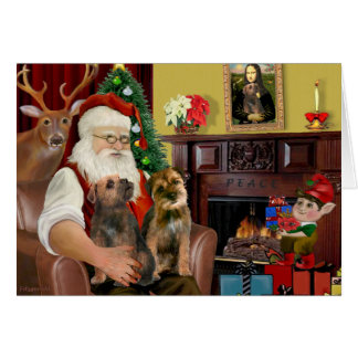 Santa - Two Border Terriers Greeting Card