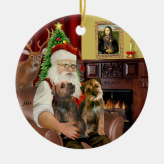Santa - Two Border Terriers Round Ceramic Decoration
