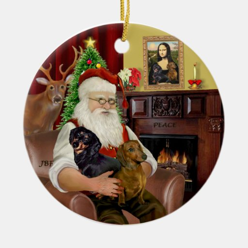 Santa-Two Dachshunds (BT+red) Ornament