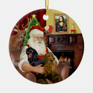 Santa-Two Dachshunds (BT+red) Round Ceramic Decoration