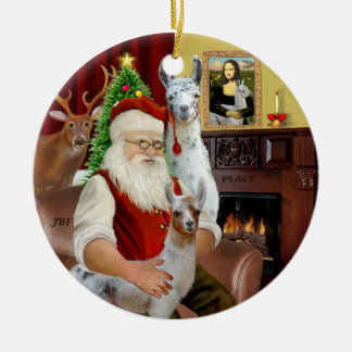 Santa - Two Llamas (Mom+baby) Christmas Ornament