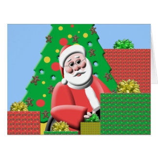 Santa Under Tree Personalized Giant Christmas Card
