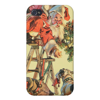 Santa Up a Ladder Covers For iPhone 4