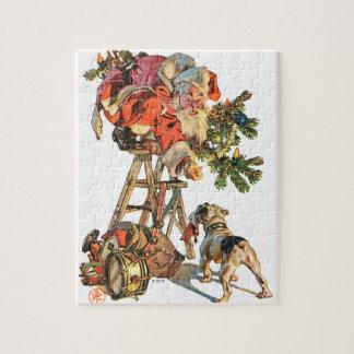 Santa Up a Ladder Jigsaw Puzzle