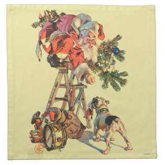 Santa Up a Ladder Napkin