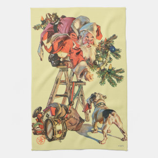 Santa Up a Ladder Tea Towel