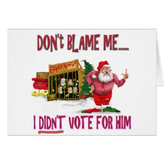 Santa w/Elves for Rent/Political Joke Greeting Card