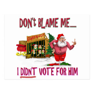 Santa w/Elves for Rent/Political Joke Postcard