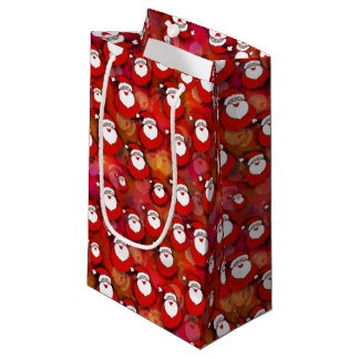 Santa w/Red and Orange Background Small Gift Bag