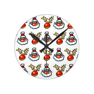 Santa Wallpaper Round Clock