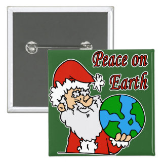 Santa wants peace on earth 15 cm square badge