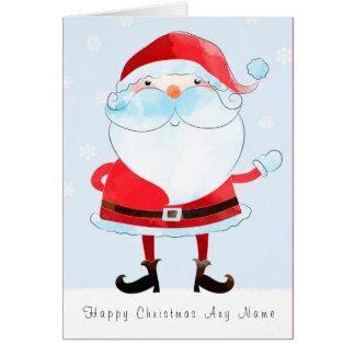 Santa Watercolour Personalised Christmas Card