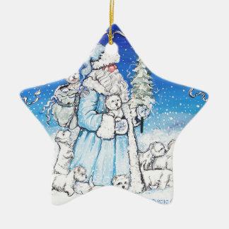 Santa Westies Ceramic Star Decoration