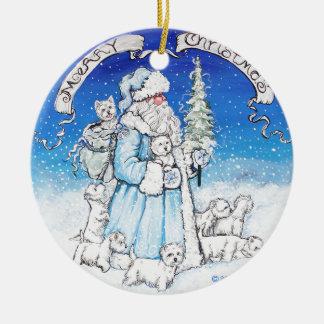 Santa Westies Christmas Ornament