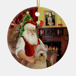 Santa-Wheaten Terrier Christmas Ornament