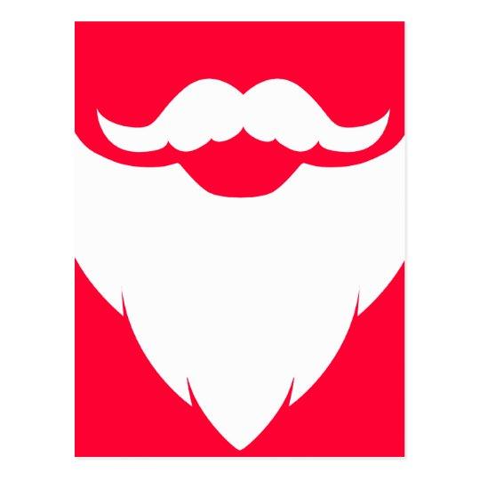 Santa white beard and moustache red white postcard