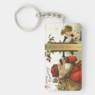 Santa Wish I Thee Double-Sided Rectangular Acrylic Key Ring