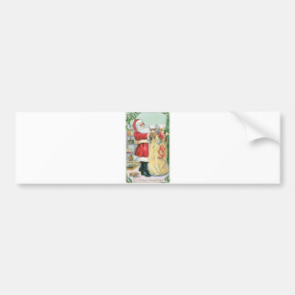 Santa with a big bag of gifts bumper sticker